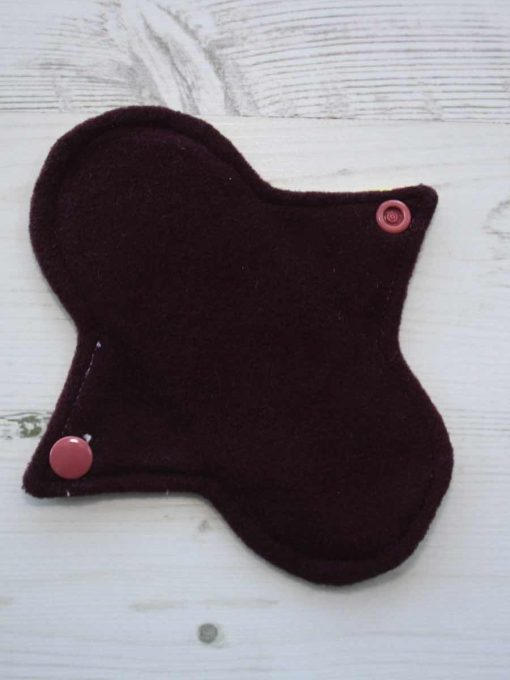 6″ Regular Flow cloth pad | Butterfly Meadow Yelllow Cotton | Burgundy Wind Pro Fleece | Luna Landings | Sub 3