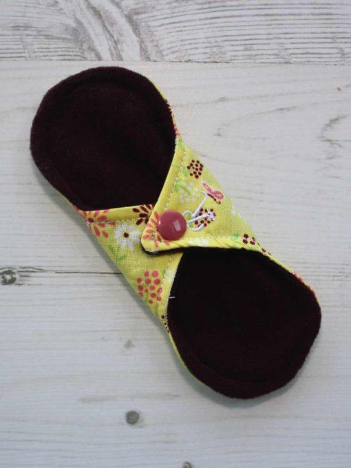 6″ Regular Flow cloth pad | Butterfly Meadow Yelllow Cotton | Burgundy Wind Pro Fleece | Luna Landings | Sub 4