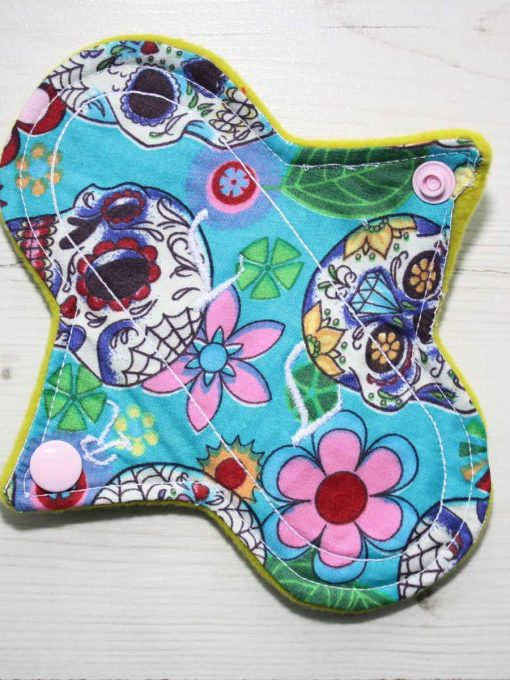 6″ Regular Flow cloth pad | Day of the Dead Aqua Cotton | Lemongrass Wind Pro Fleece | Luna Landings | Sub 1