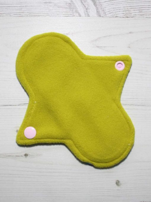 6″ Regular Flow cloth pad | Day of the Dead Aqua Cotton | Lemongrass Wind Pro Fleece | Luna Landings | Sub 3