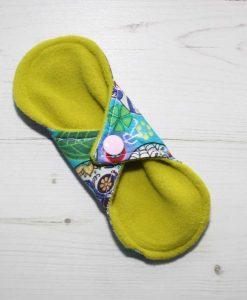 6″ Regular Flow cloth pad | Day of the Dead Aqua Cotton | Lemongrass Wind Pro Fleece | Luna Landings | Sub 4