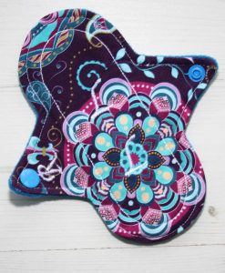 6″ Regular Flow cloth pad | Harmony Cotton Jersey | Blue Wind Pro Fleece | Luna Landings | Sub 1