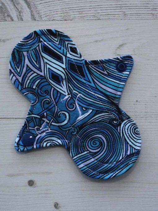 6″ Regular Flow cloth pad | Pacific Blue Cotton Jersey | Blue Wind Pro Fleece | Luna Landings | Slim Sub 1