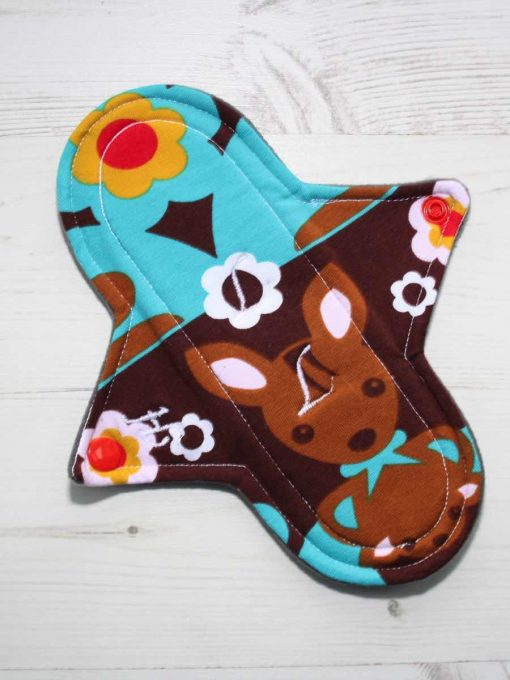 8″ Heavy Flow cloth pad | Kanga Cotton Jersey | Grey Wind Pro Fleece | Luna Landings | Sub 1