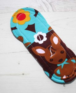 8″ Heavy Flow cloth pad | Kanga Cotton Jersey | Grey Wind Pro Fleece | Luna Landings | Sub 5