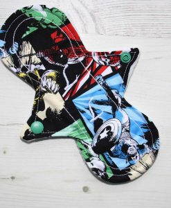 8″ Liner cloth pad | Avengers Captain America Cotton | White Polar Fleece | Luna Landings | Slim Sub 1