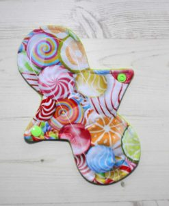 "8"" Liner cloth pad | Fruit Lollipops Cotton Jersey | Lemongrass Wind Pro Fleece | Luna Landings | Slim Sub"