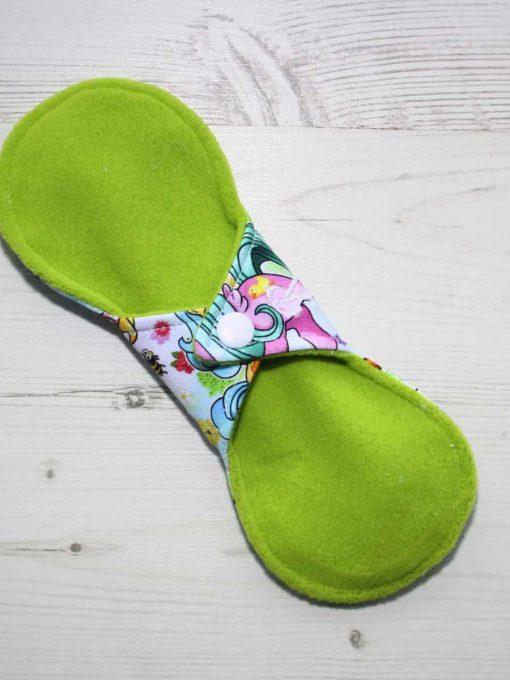 8″ Regular Flow cloth pad | Vintage Ponies Cotton Jersey | Lemongrass Wind Pro Fleece | Luna Landings | Slim Sub 4