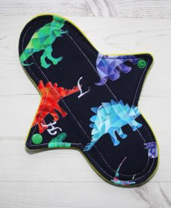 9″ Heavy Flow cloth pad | Crystal Dino Cotton Jersey | Yellow Wind Pro Fleece | Luna Landings | Sub 1