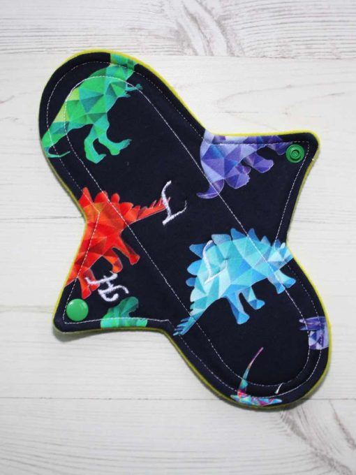 9″ Heavy Flow cloth pad | Crystal Dino Cotton Jersey | Yellow Wind Pro Fleece | Luna Landings | Sub 1