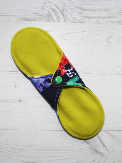 9″ Heavy Flow cloth pad | Crystal Dino Cotton Jersey | Yellow Wind Pro Fleece | Luna Landings | Sub 4
