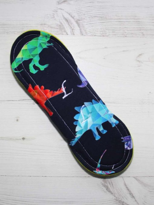 9″ Heavy Flow cloth pad | Crystal Dino Cotton Jersey | Yellow Wind Pro Fleece | Luna Landings | Sub 5