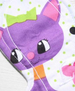 9″ Liner cloth pad | Cartoon Cats Cotton | White Polar Fleece | Luna Landings | Slim Sub 2