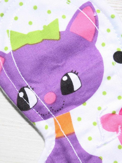 "9"" Liner cloth pad | Cartoon Cats Cotton | White Polar Fleece | Luna Landings | Slim Sub"