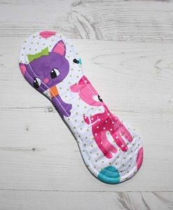 9″ Liner cloth pad | Cartoon Cats Cotton | White Polar Fleece | Luna Landings | Slim Sub 5