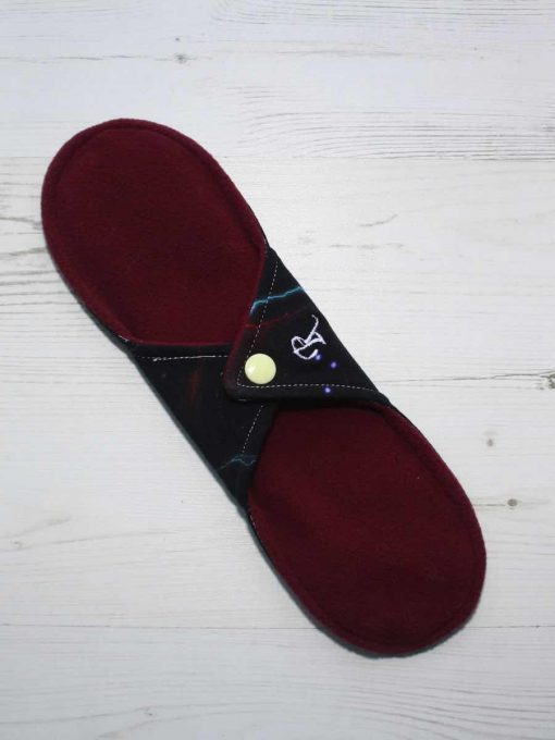 "10"" Regular Flow cloth pad | Electric Skies Cotton Jersey | Burgundy Wind Pro Fleece | Luna Landings | Sub"