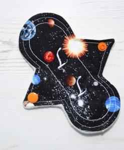 "6"" Liner cloth pad | Solar Systems Planets Black Cotton | Cream Wind Pro Fleece | Luna Landings | Slim Sub"