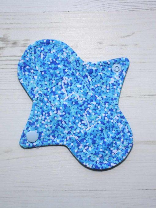 6″ Liner cloth pad   Turquoise Glitter Cotton Jersey   Blue Wind Pro Fleece   Luna Landings   Sub