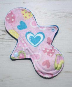 "8"" Heavy Flow cloth pad | Hearts Plush | Blue Wind Pro Fleece | Luna Landings | Slim Sub"