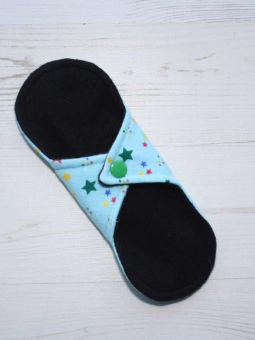 "8"" Light Flow cloth pad | Aqua Stars Cotton Flannel | Black Organic Cotton Fleece | Luna Basics | Sub"