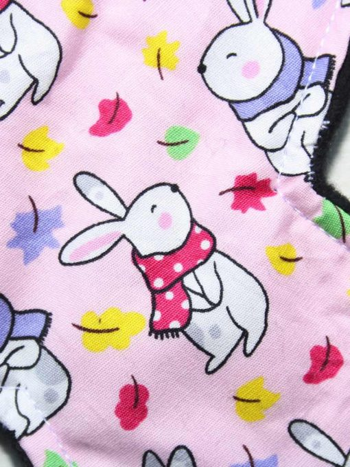8″ Light Flow cloth pad | Bunnies on Pink Cotton | Black Organic Cotton Fleece | Luna Basics | Slim Sub