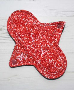 8″ Regular Flow cloth pad | Coral Glitter Cotton Jersey | Charcoal Wind Pro Fleece | Luna Landings | Sub