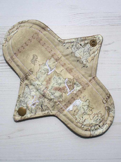 8″ Regular Flow cloth pad | Game of Thrones Map of Westeros Cotton | Coyote Wind Pro Fleece | Luna Landings | Sub