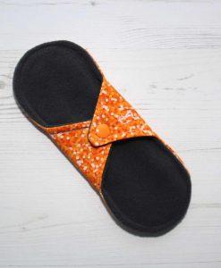 8″ Regular Flow cloth pad | Orange Glitter Cotton Jersey | Charcoal Wind Pro Fleece | Luna Landings | Sub
