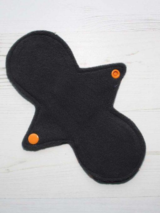 8″ Regular Flow cloth pad | Orange Ink Cotton Jersey | Grey Wind Pro Fleece | Luna Landings | Slim Sub