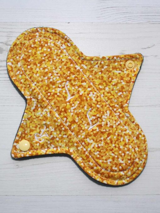 8″ Regular Flow cloth pad | Yellow Glitter Cotton Jersey | Charcoal Wind Pro Fleece | Luna Landings | Sub