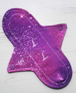 "9"" Regular Flow cloth pad | Solar System Stardust Cotton Jersey | Charcoal Wind Pro Fleece | Luna Landings | Sub"