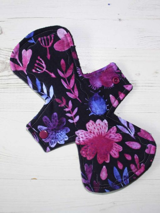 "10"" Heavy Flow cloth pad | Purple Flower Cotton Jersey | Black Polar Fleece | Crafty Mrs B |"