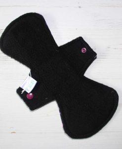 10″ Heavy Flow cloth pad   Purple Flower Cotton Jersey   Black Polar Fleece   Crafty Mrs B  