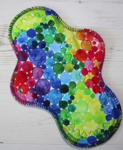 10-inch-Heavy-Flow-cloth-menstrual-pad-Rainbow-Bubbles-Cotton-Jersey-and-Navy-Polar-Fleece-Aunt-Irma's-Curvy-Moonglow_1