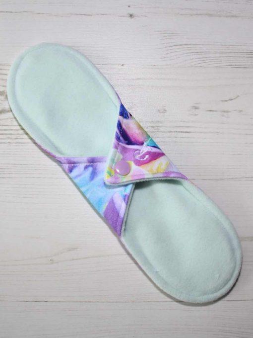 "10"" Regular Flow cloth pad | Florence Roses Cotton Jersey | Mint Wind Pro Fleece | Luna Landings | Sub"