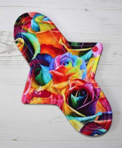 "10"" Regular Flow cloth pad | Majestic Roses Cotton Jersey | Burgundy Wind Pro Fleece | Luna Landings | Sub"