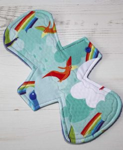 10″ Regular Flow cloth pad | Rainbow Bird Cotton Jersey | Blue Polar Fleece | Crafty Mrs B |