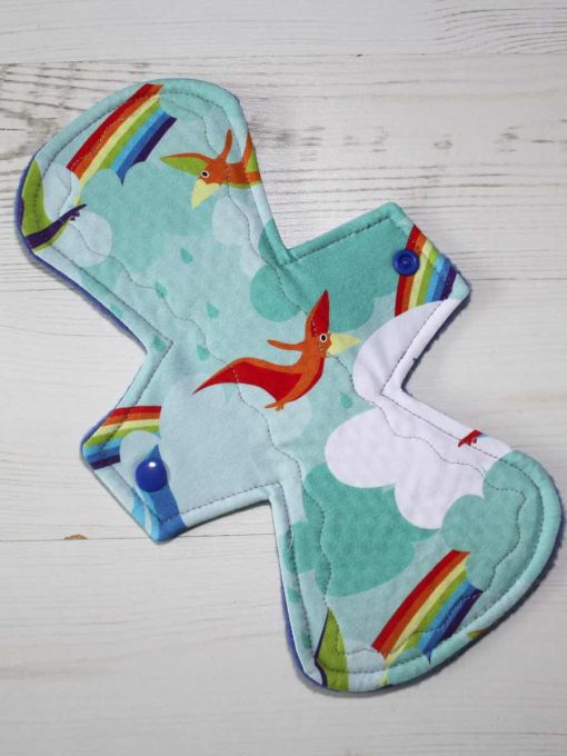 "10"" Regular Flow cloth pad | Rainbow Bird Cotton Jersey | Blue Polar Fleece | Crafty Mrs B |"