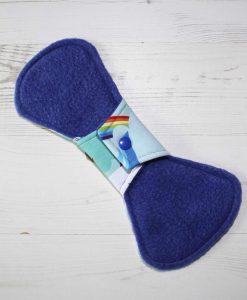10″ Regular Flow cloth pad | Rainbow Bird Cotton Jersey | Blue Polar Fleece | Crafty Mrs B |