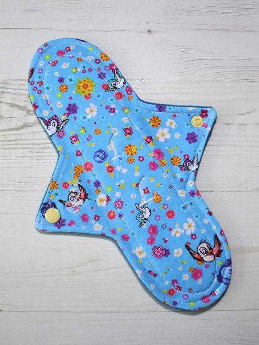 "10"" Regular Flow cloth pad | Rosebird Cotton Jersey | Blue Wind Pro Fleece | Luna Landings | Sub"