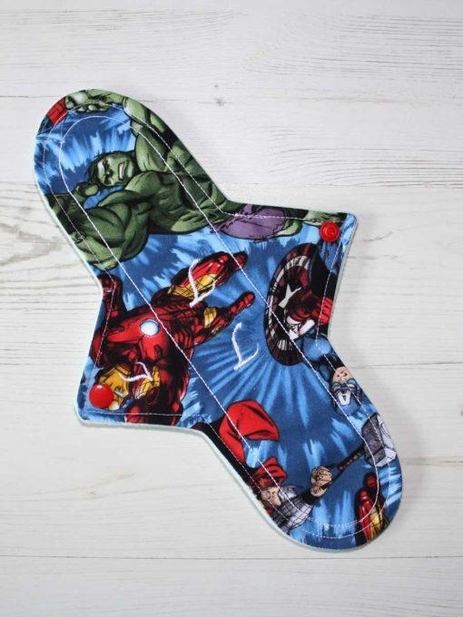"11"" Light Flow cloth pad | Avengers Cotton | Mint Wind Pro Fleece | Luna Landings | Sub"