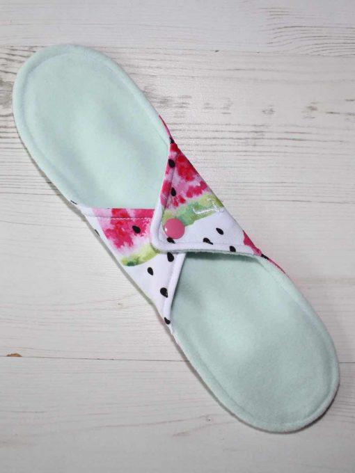 11″ Light Flow cloth pad | I Carried a Watermelon Cotton Jersey | Mint Wind Pro Fleece | Luna Landings | Sub