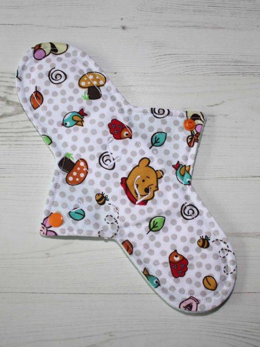 "11"" Light Flow cloth pad   Pooh Bear Cotton   Mint Wind Pro Fleece   Luna Landings   Sub"