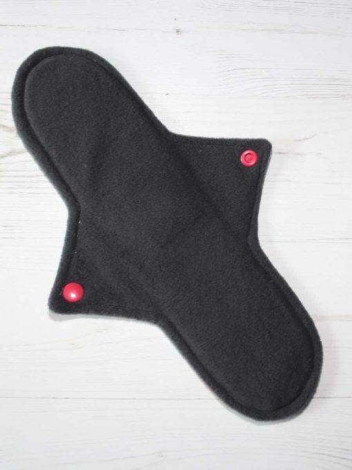 "11"" Regular Flow cloth pad | Roses Cotton | Charcoal Wind Pro Fleece | Luna Landings | Sub"