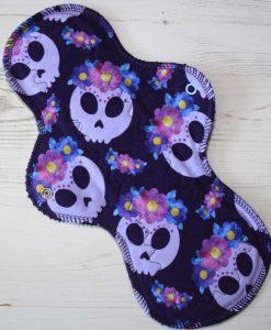 12-inch-Heavy-Flow-cloth-menstrual-pad-Lilac-Skulls-Cotton-Jersey-and-Navy-Polar-Fleece-Aunt-Irma's-Curvy-Moonglow_1
