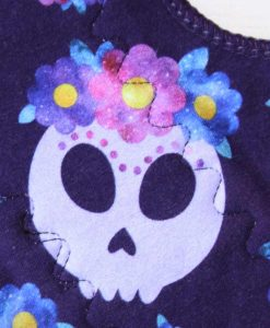 12-inch-Heavy-Flow-cloth-menstrual-pad-Lilac-Skulls-Cotton-Jersey-and-Navy-Polar-Fleece-Aunt-Irma's-Curvy-Moonglow_2