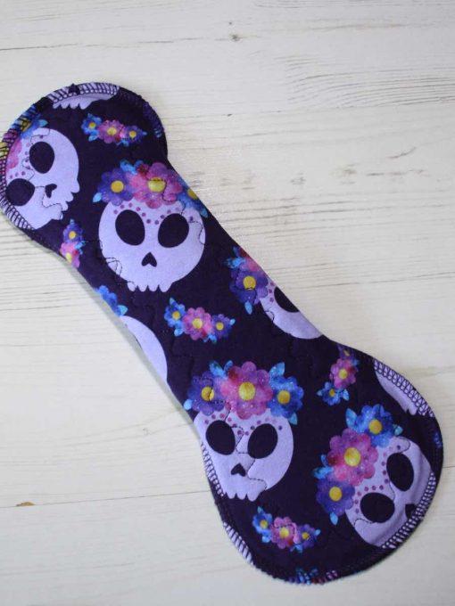 12-inch-Heavy-Flow-cloth-menstrual-pad-Lilac-Skulls-Cotton-Jersey-and-Navy-Polar-Fleece-Aunt-Irma's-Curvy-Moonglow_5