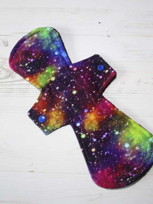 12″ Heavy Flow cloth pad | Purple Galaxy Cotton Jersey | Black Polar Fleece | Crafty Mrs B |
