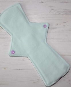 12″ Regular Flow cloth pad | Dreamy Scales Cotton Jersey | Mint Wind Pro Fleece | Luna Landings | Double Flare