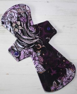 12″ Regular Flow cloth pad | Purple Sketch Roses Cotton Jersey | Purple Polar Fleece | Crafty Mrs B |